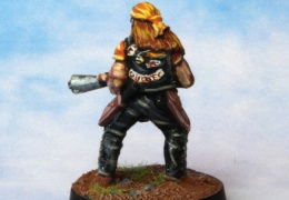 Bikers Male Flamethrower Bandana back (from EM 4 miniatures - Future skirmish)