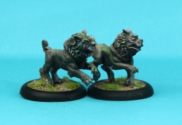Shisa male and female with open and closed mouth(Bushido Miniatures)