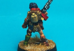 Scavenger - Female with Autoshotgun and Scarf back (Forlorn Hope - Future Skirmish)